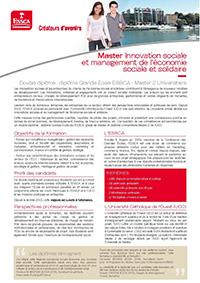 Master Innovation sociale et management de l'économie sociale et solidaire ESSCA